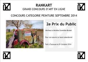 Concours Peintures Rankart : diplôme 2ème prix public sept14