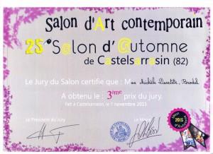 diplôme 3ème prix du jury Castelsarrasin 2015