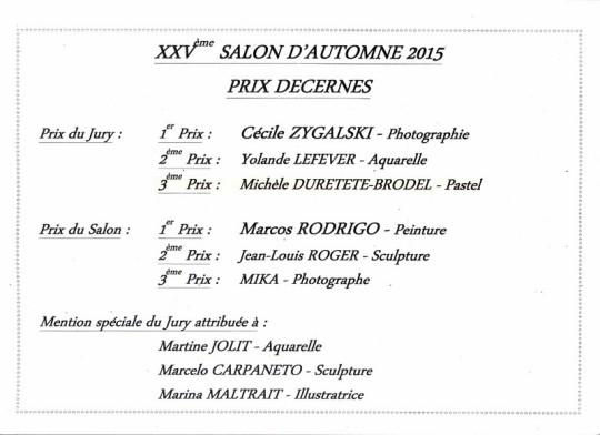 liste des prix attribués Castelsarrasin 2015